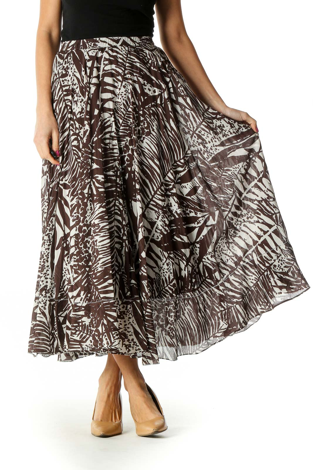 Brown Paisley Holiday A-Line Skirt Front
