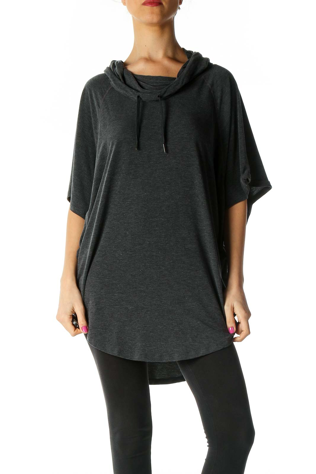 Black Solid Casual T-Shirt Front