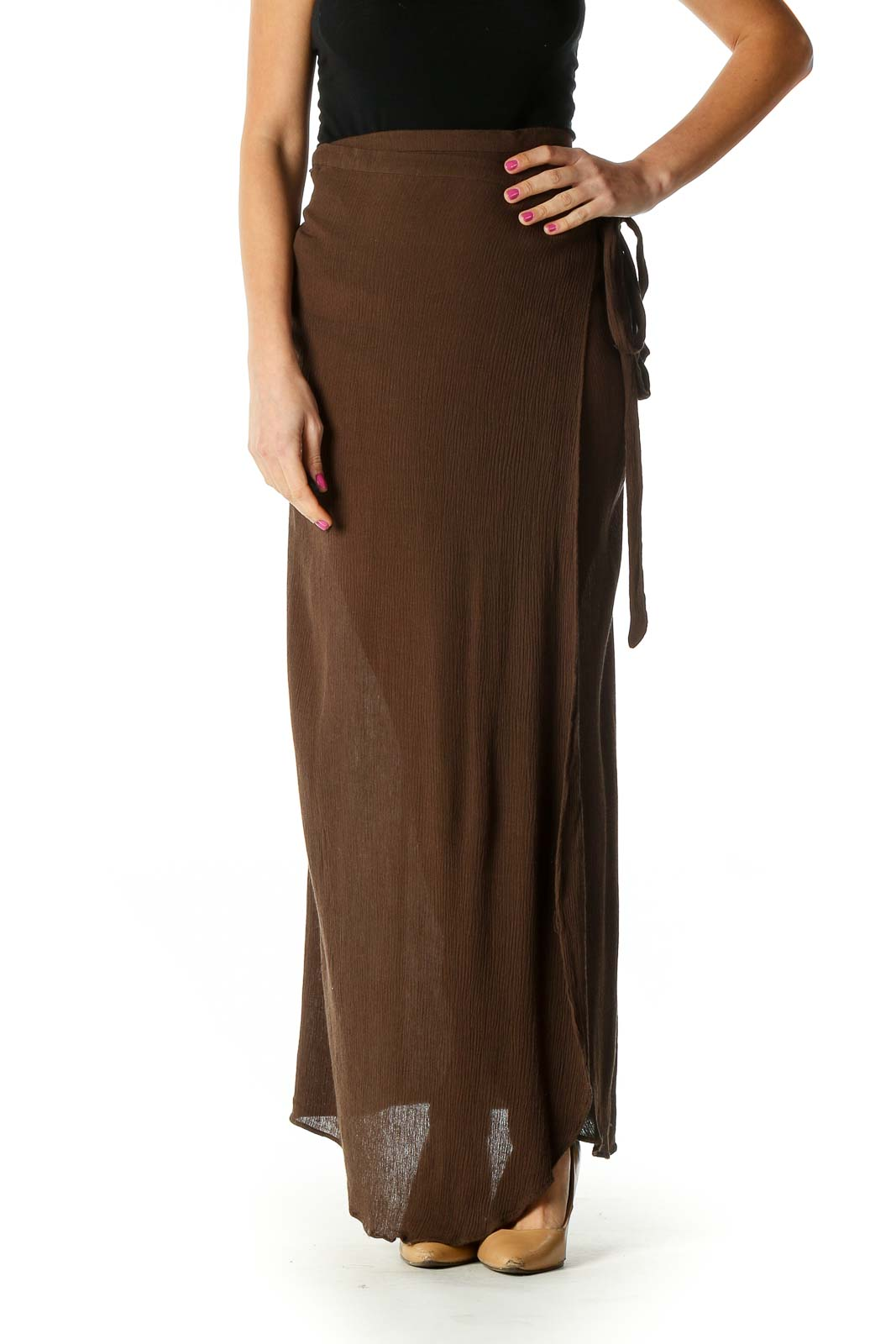 Brown Striped Casual Pencil Skirt Front