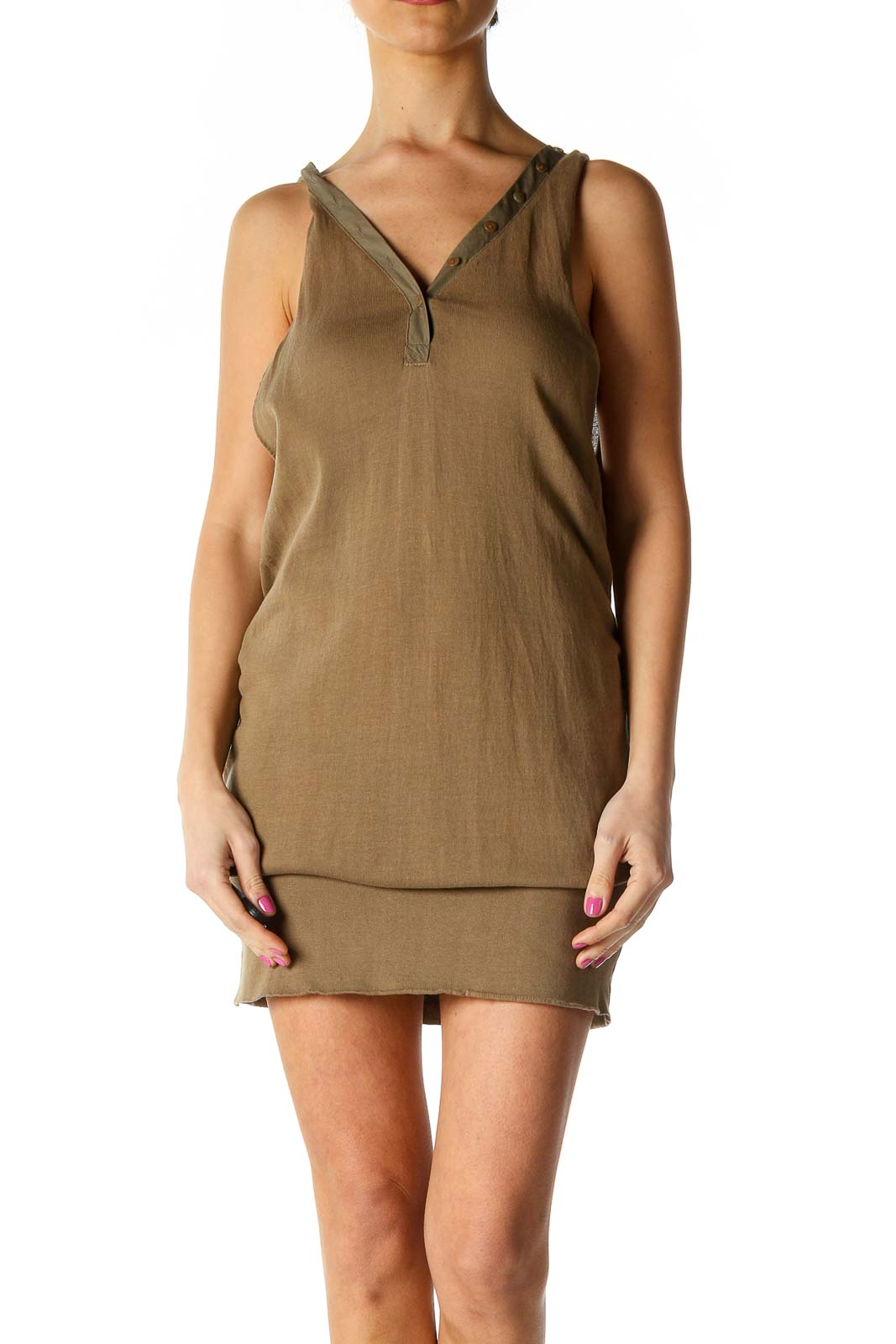 Brown Solid Casual Sheath Dress Front