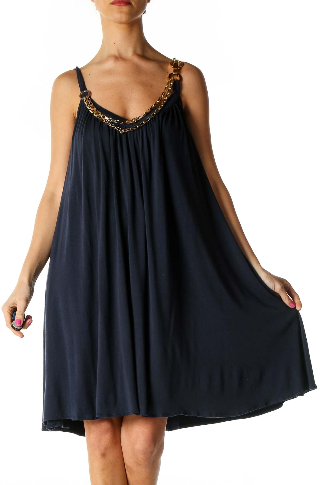 Navy Casual Chain Dress Front