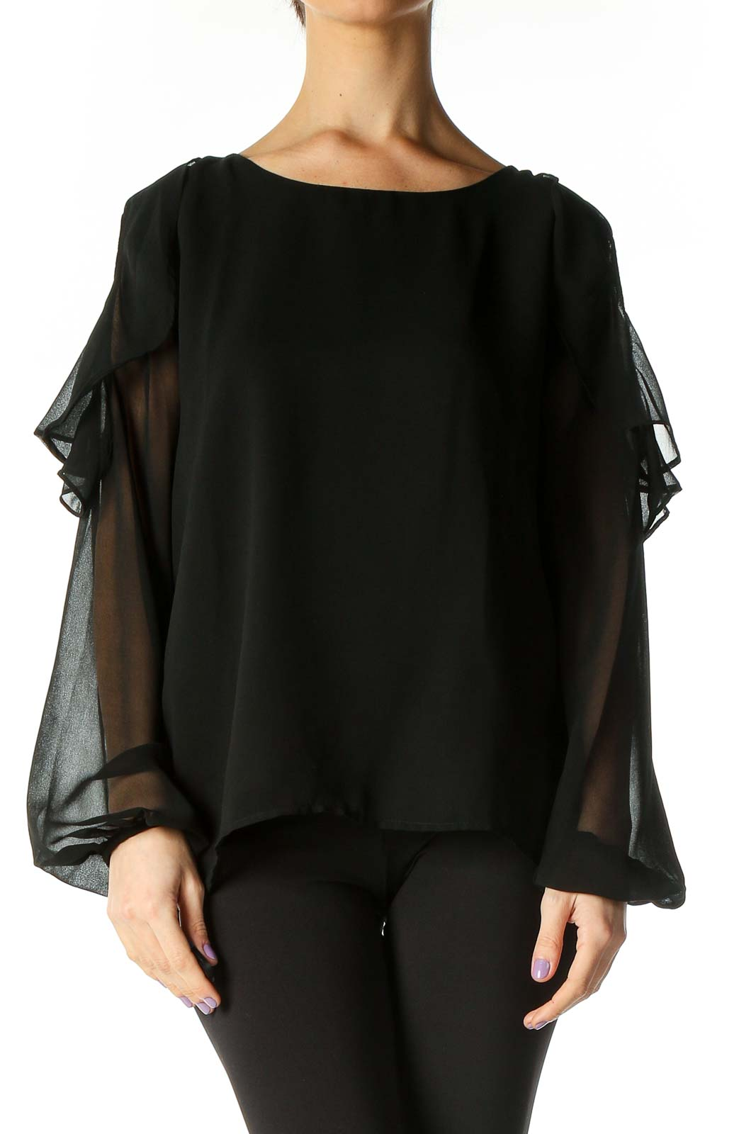 Black Solid Retro Blouse Front