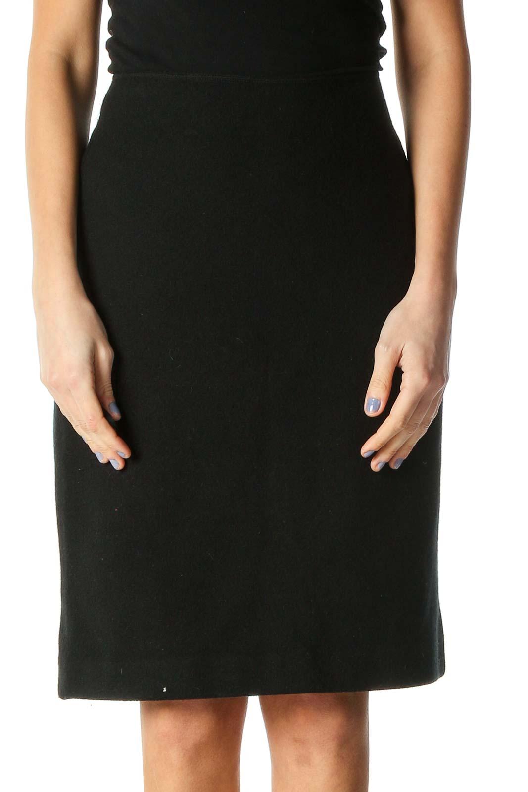 Black Colorblock Classic Pencil Skirt Front