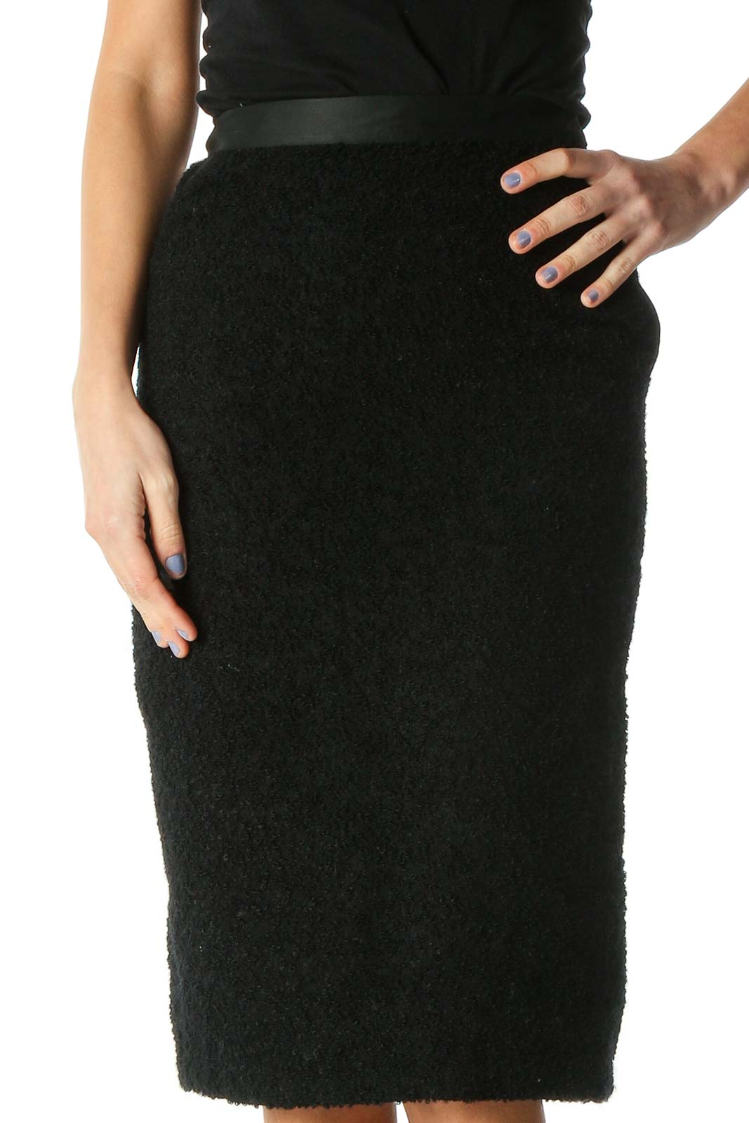 Black Solid Brunch Pencil Skirt Front