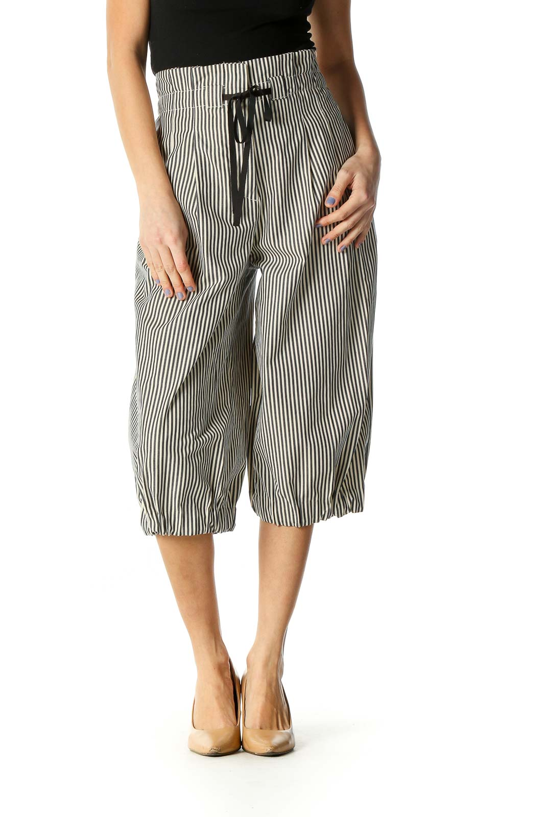 Beige Striped Chic Culottes Pants Front