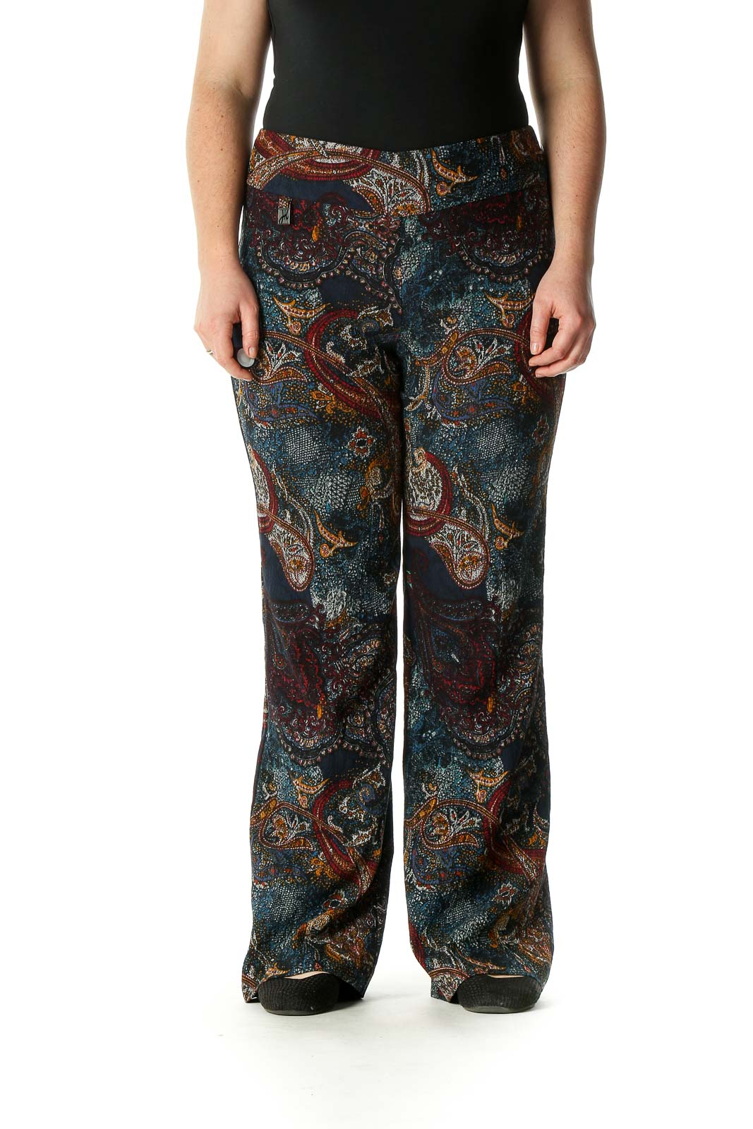 Black Paisley Bohemian Trousers Front