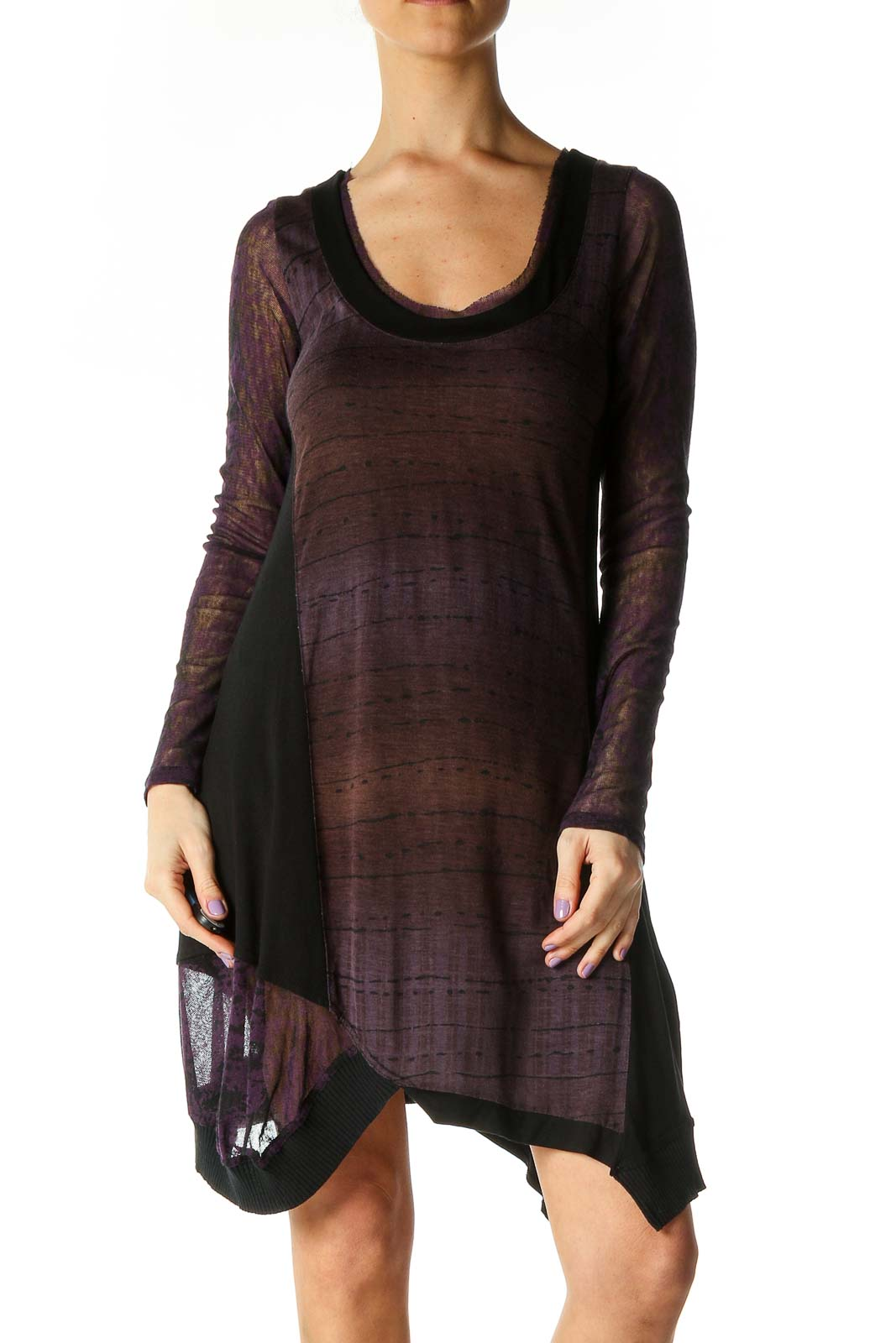 Brown Solid Chic A-Line Dress Front