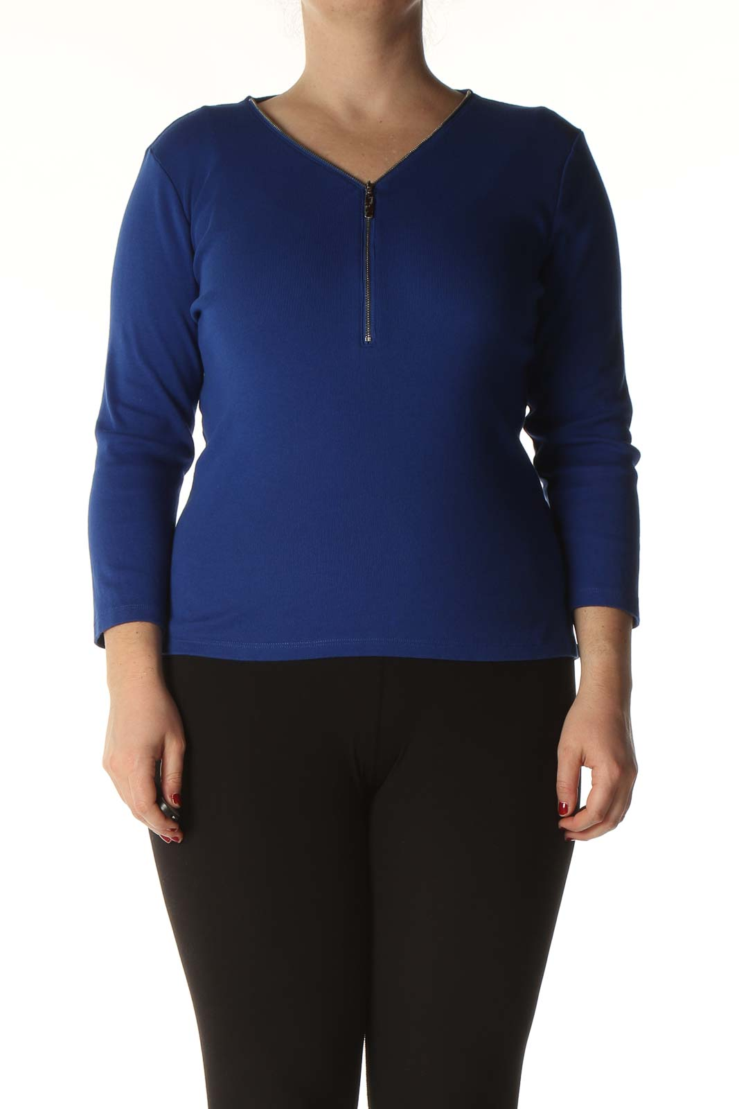 Blue Solid T-Shirt Front