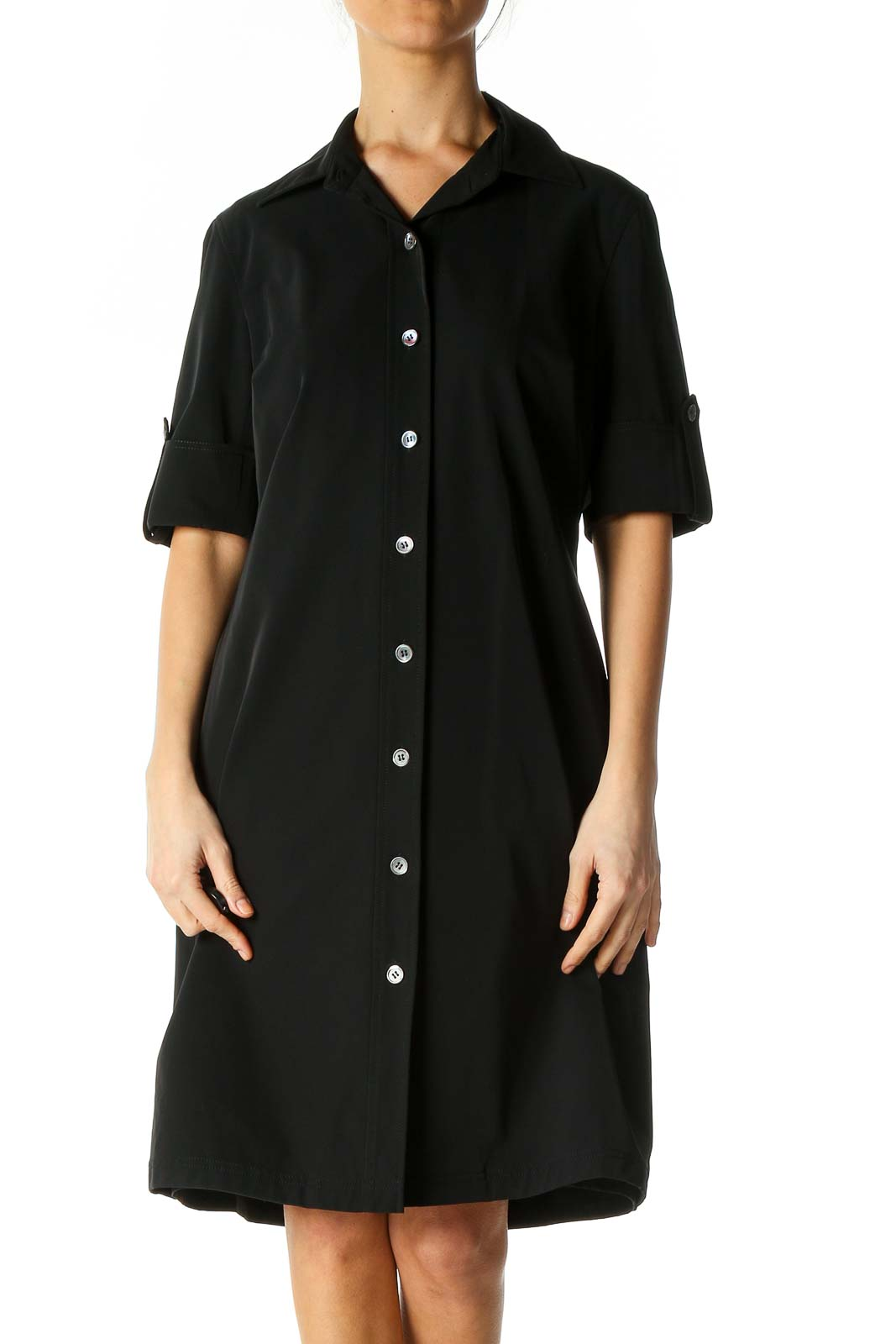 Black Solid Casual Shift Dress Front