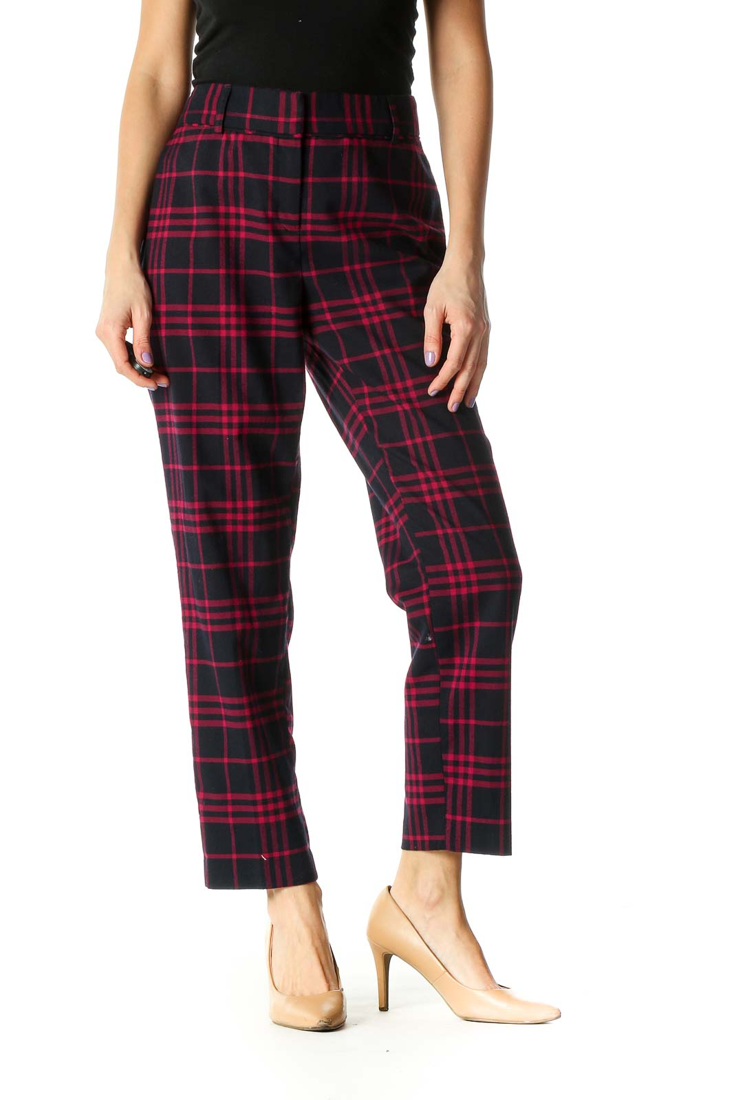 Blue Checkered Casual Trousers Front