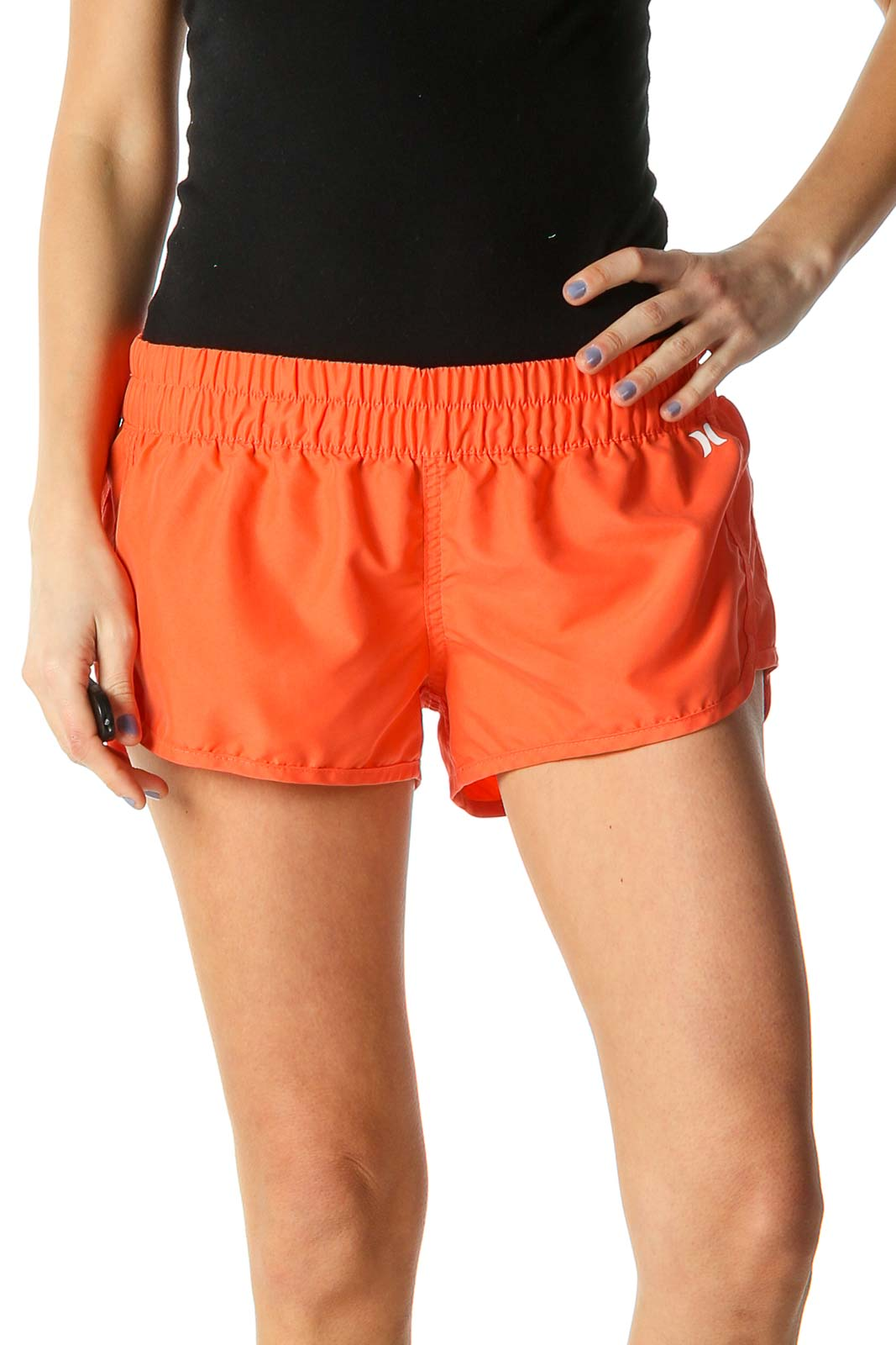 Orange Solid Casual Shorts Front