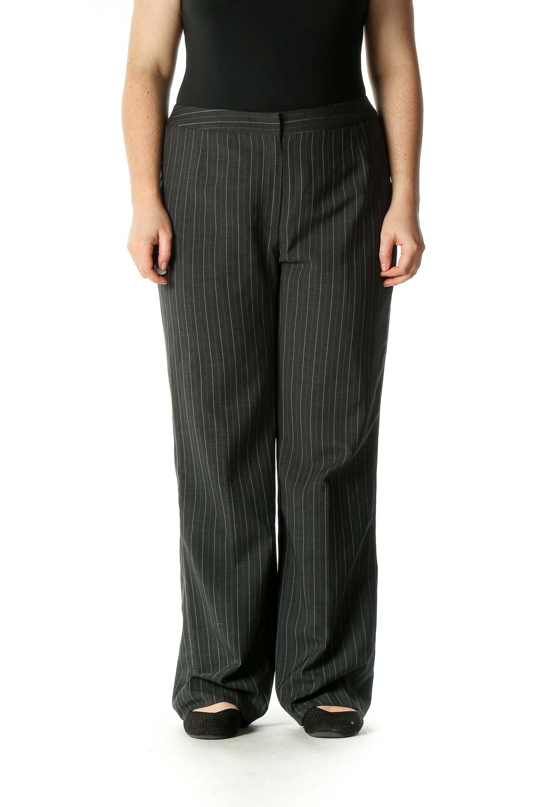 Gray Striped Bohemian Trousers Front
