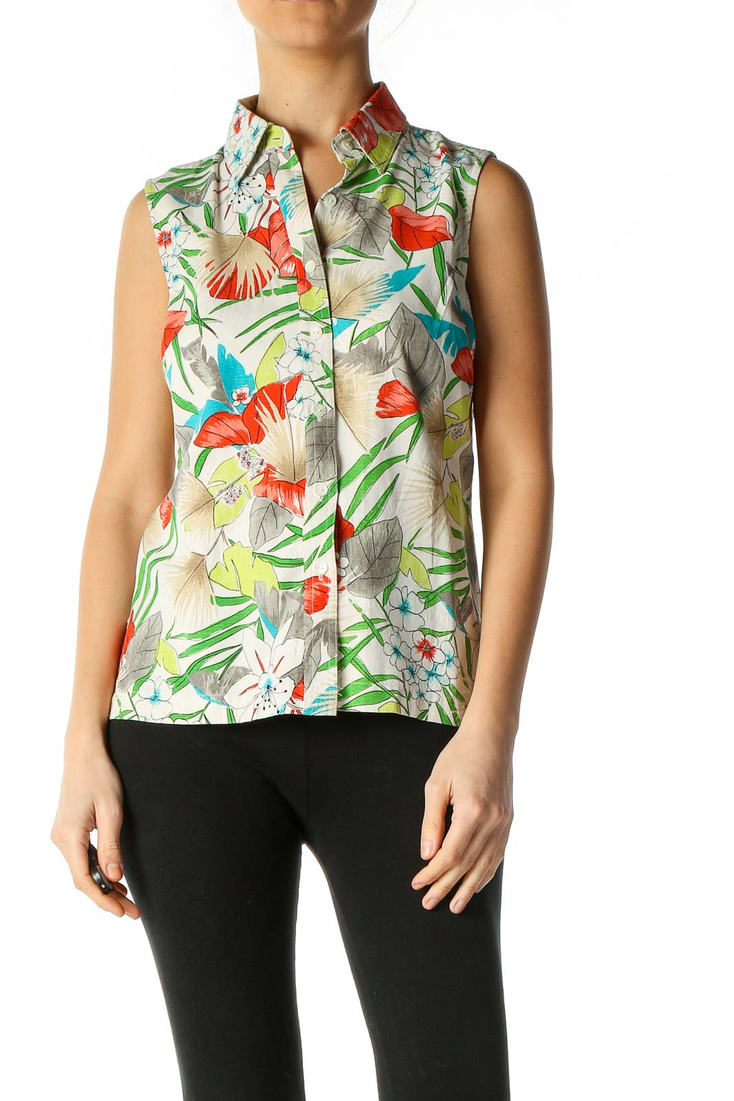 White Graphic Print Casual Blouse Front