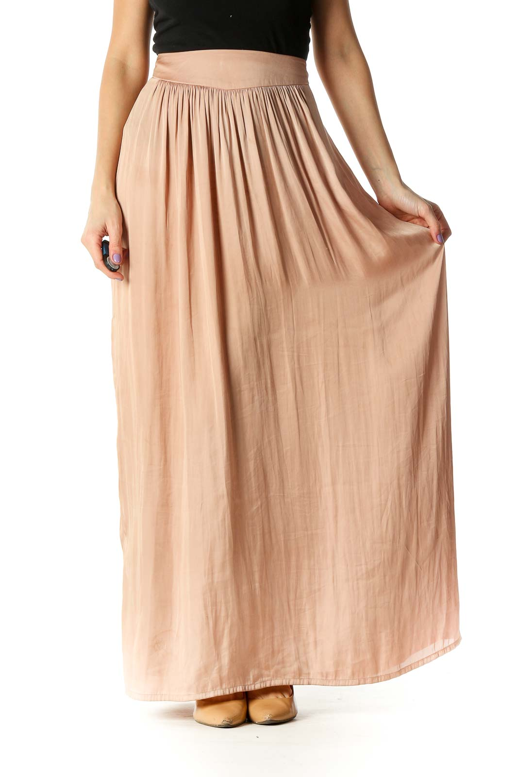 Beige Striped Casual Pleated Skirt Front