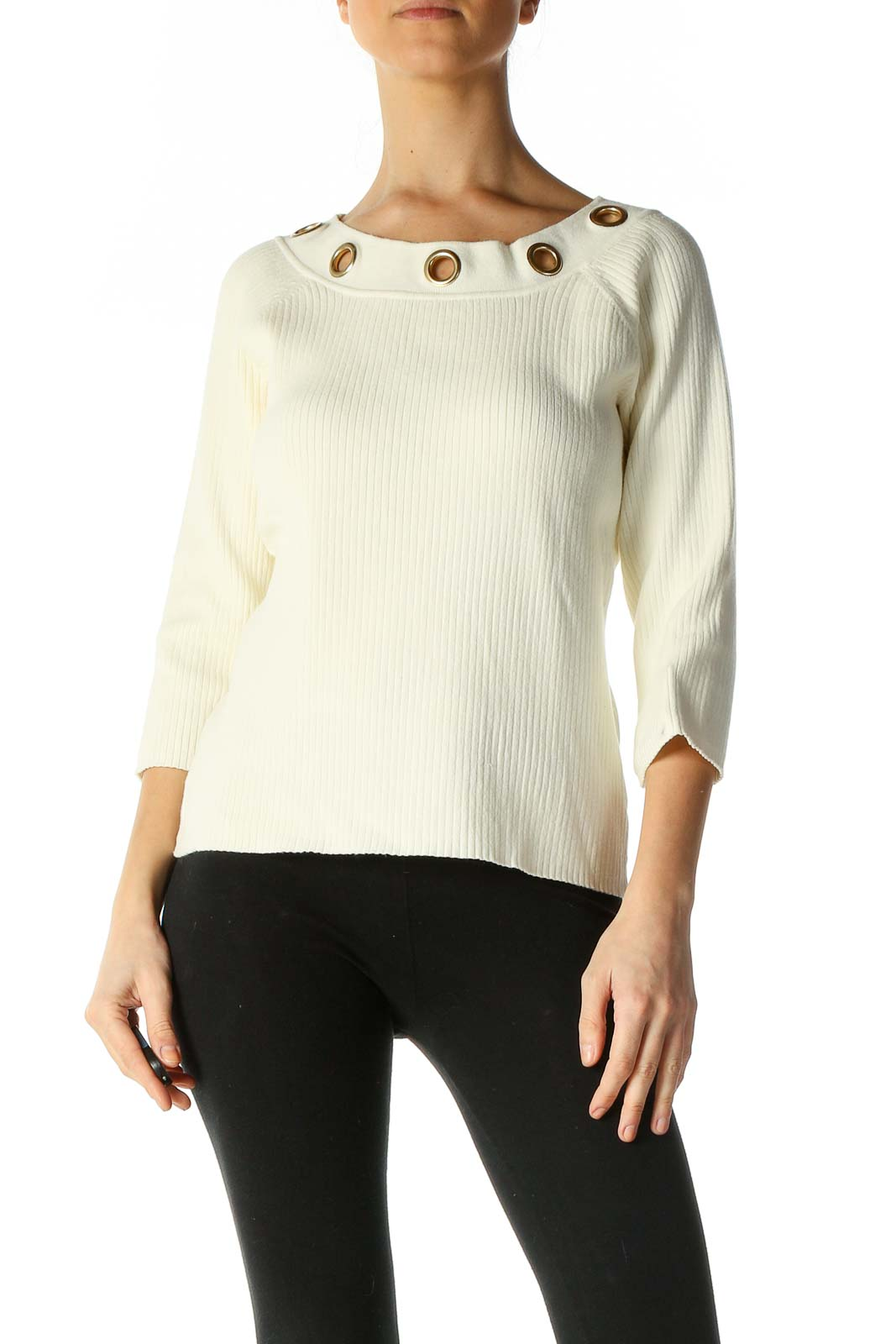 Beige Textured Retro Sweater Front