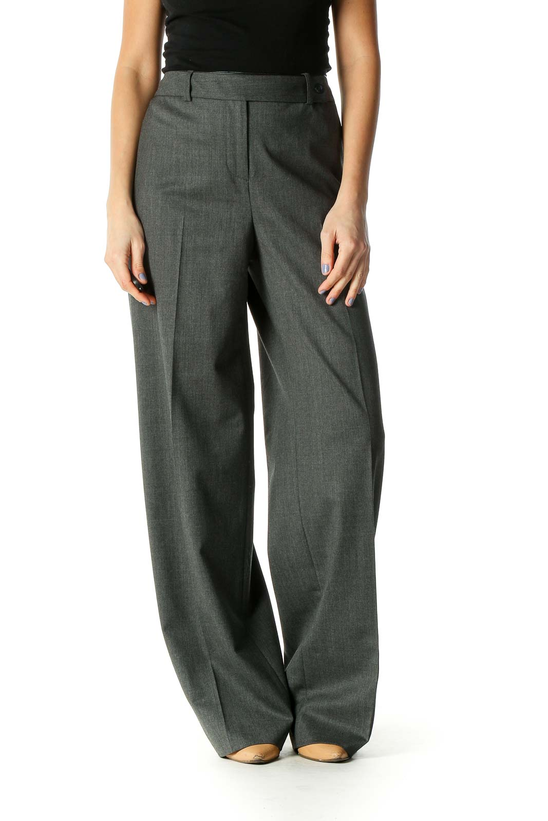 Gray Solid Classic Trousers Front