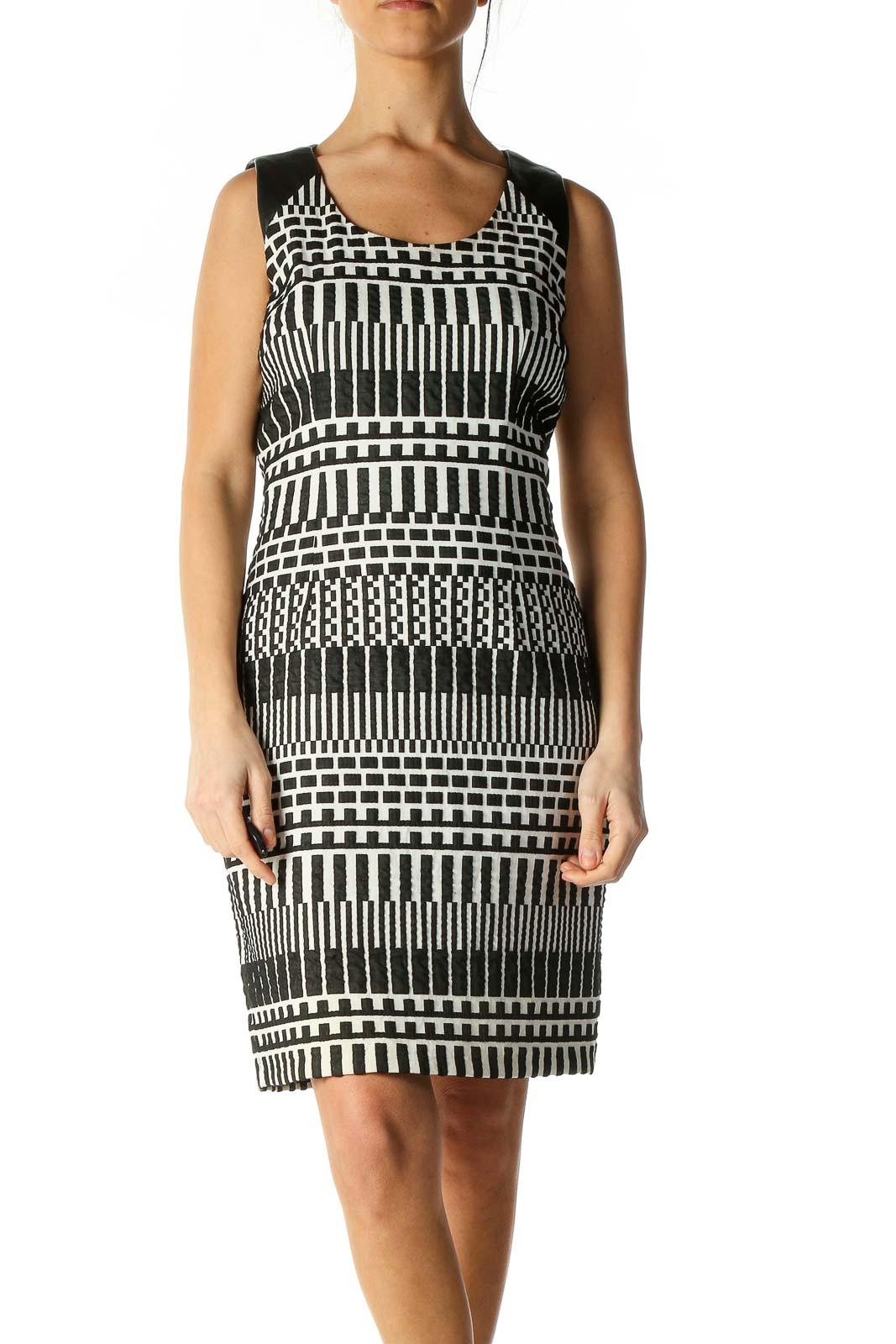 White Checkered Bohemian Sheath Dress Front