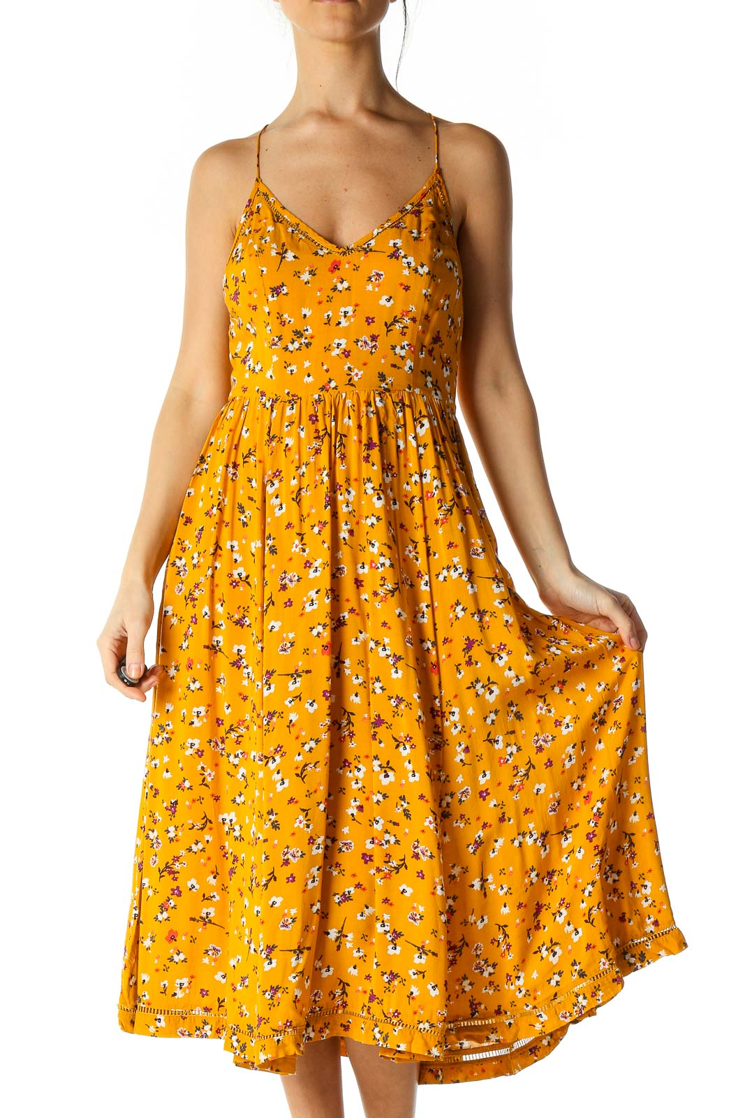 Orange Retro A-Line Dress Front