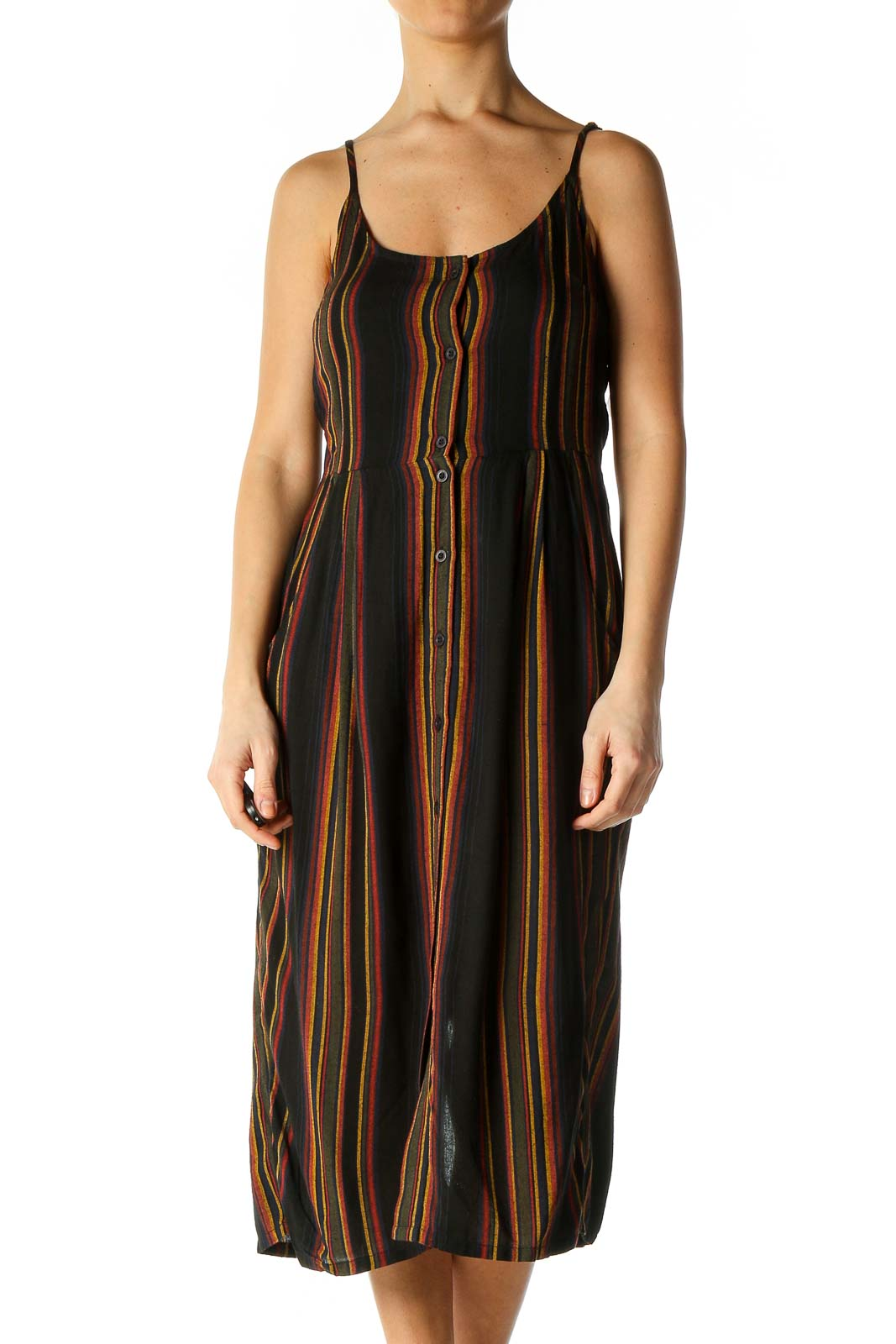 Black Striped Casual A-Line Dress Front