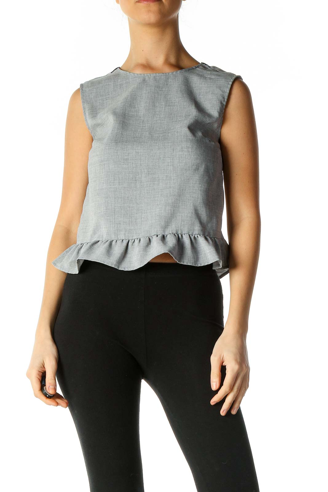 Gray Solid Sleeveless Ruffle Top Front