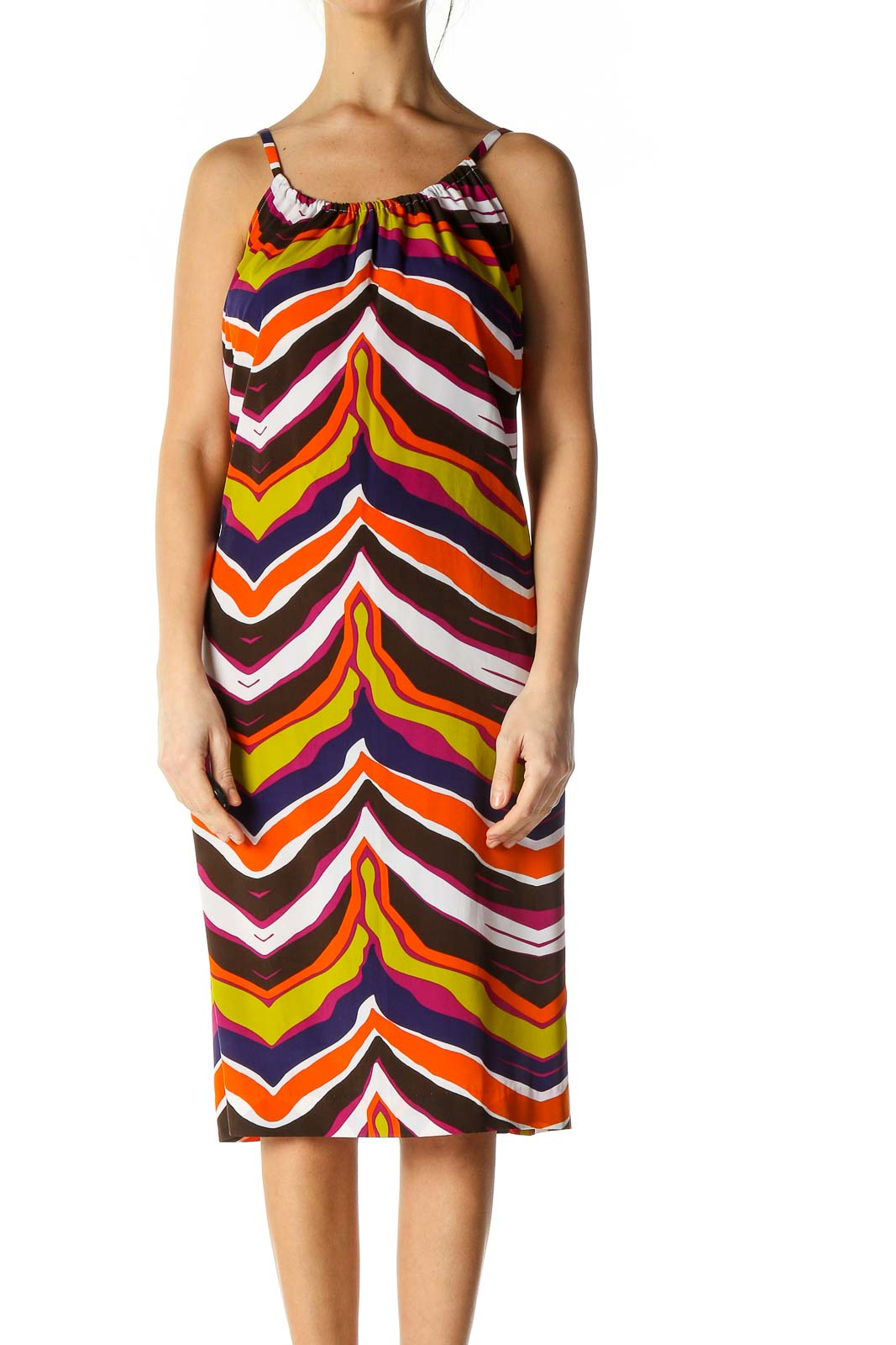 Orange Chevron Casual A-Line Dress Front