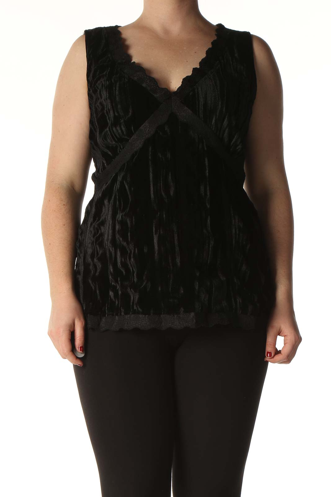 Black Solid Casual Blouse Front