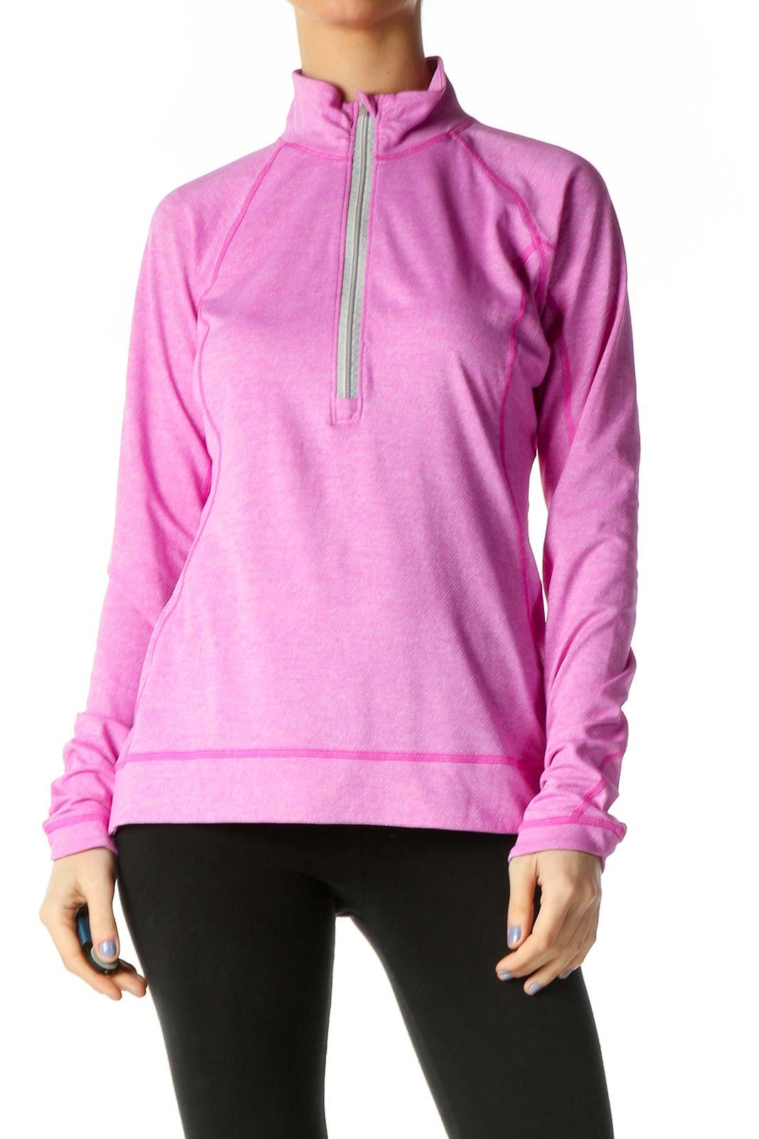 Pink Solid Sweatshirt Front