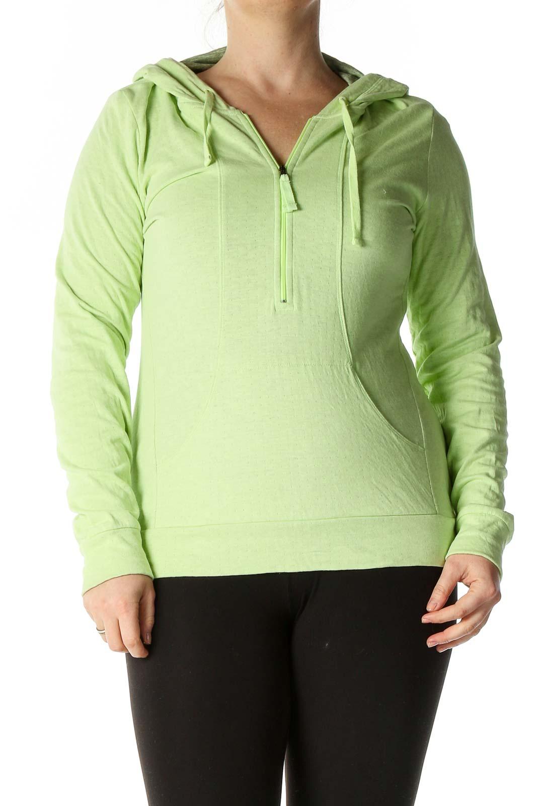 Green Solid Sweatshirt Front