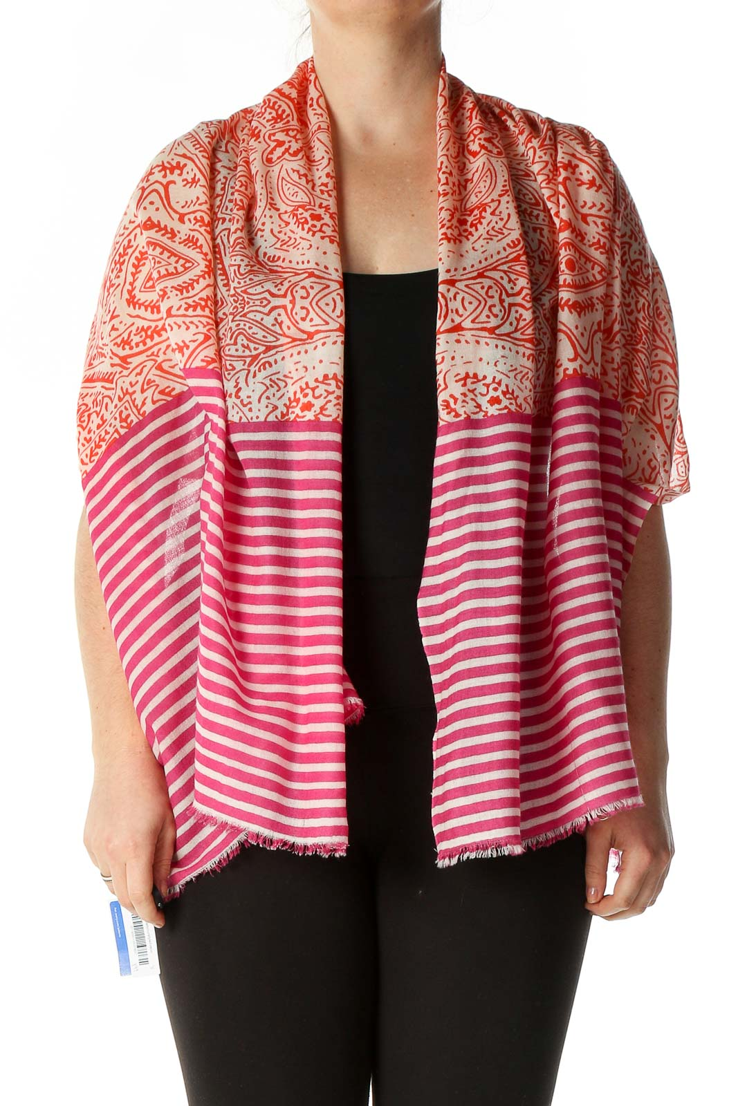 Pink Striped Scarf Front