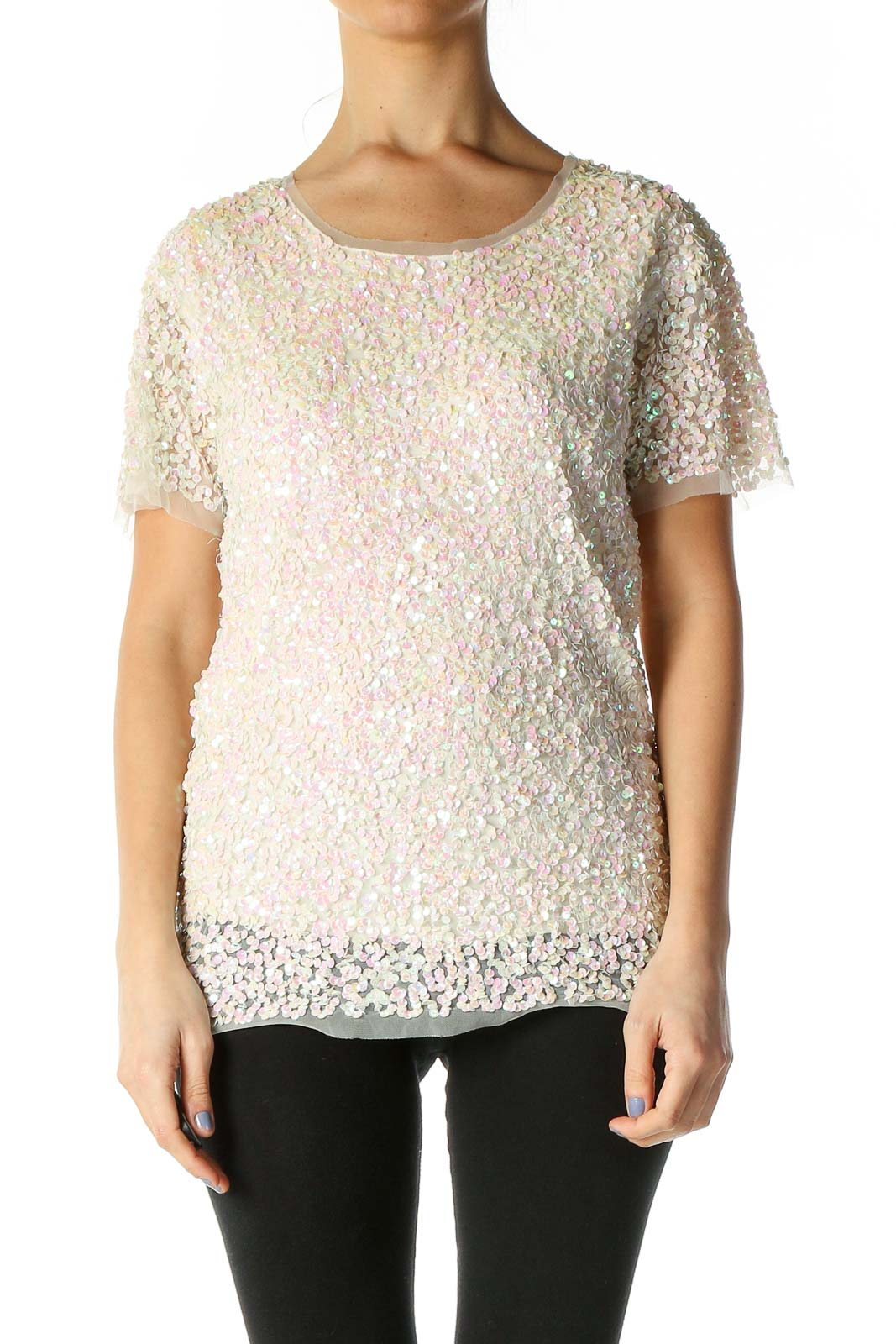Beige Casual Blouse Front