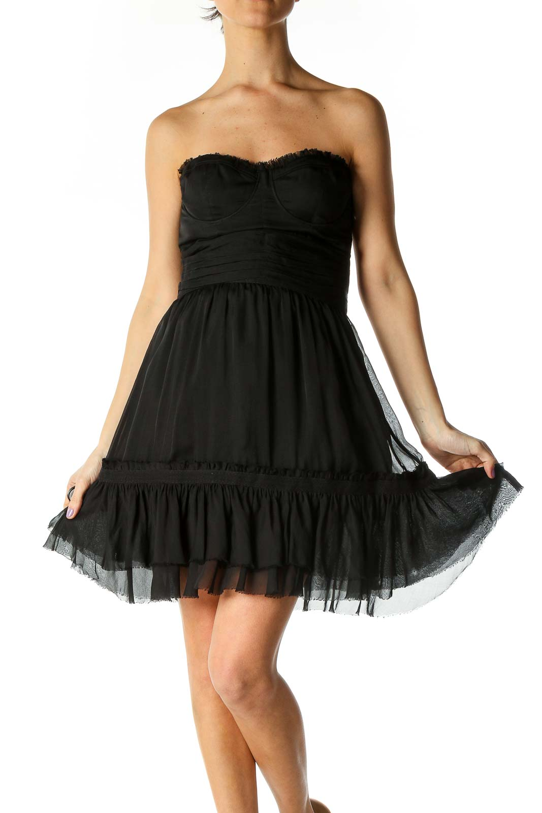 Black Solid Chic Fit Flare Dress Front