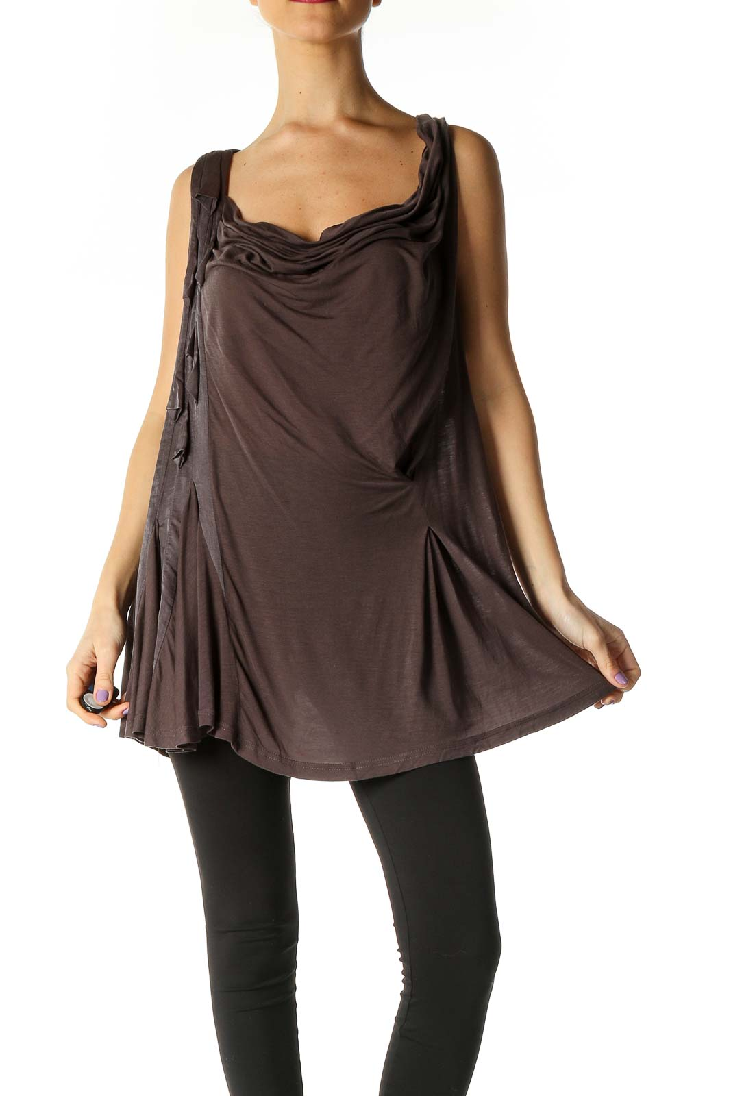 Brown Solid Party Tank Top Front