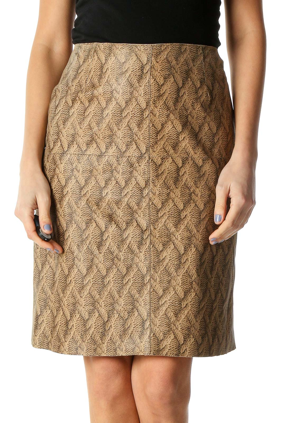 Beige Paisley Brunch Straight Skirt Front