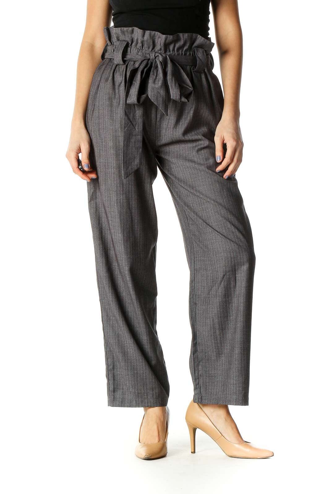 Gray Striped Casual Trousers Front