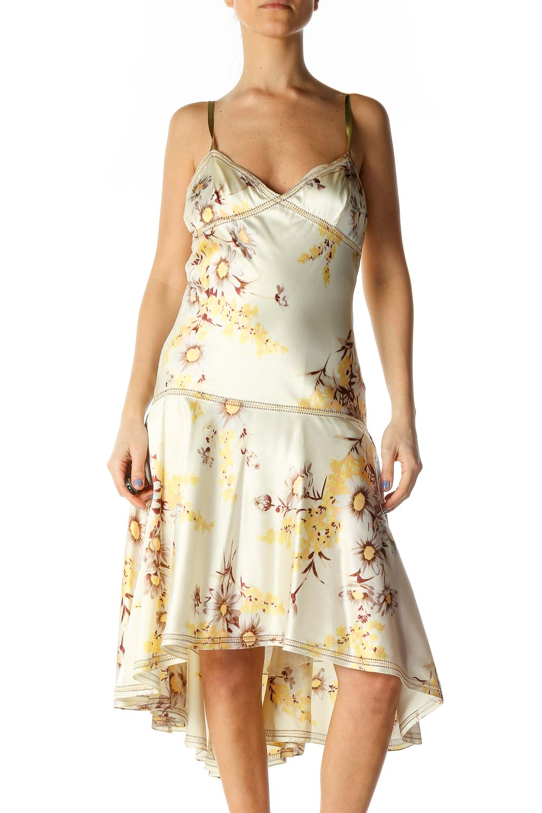Beige Holiday A-Line Dress Front