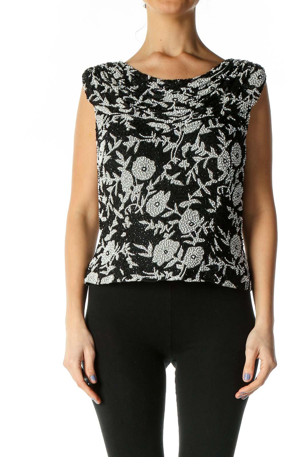 Black Sequin Graphic Bohemian Blouse Front