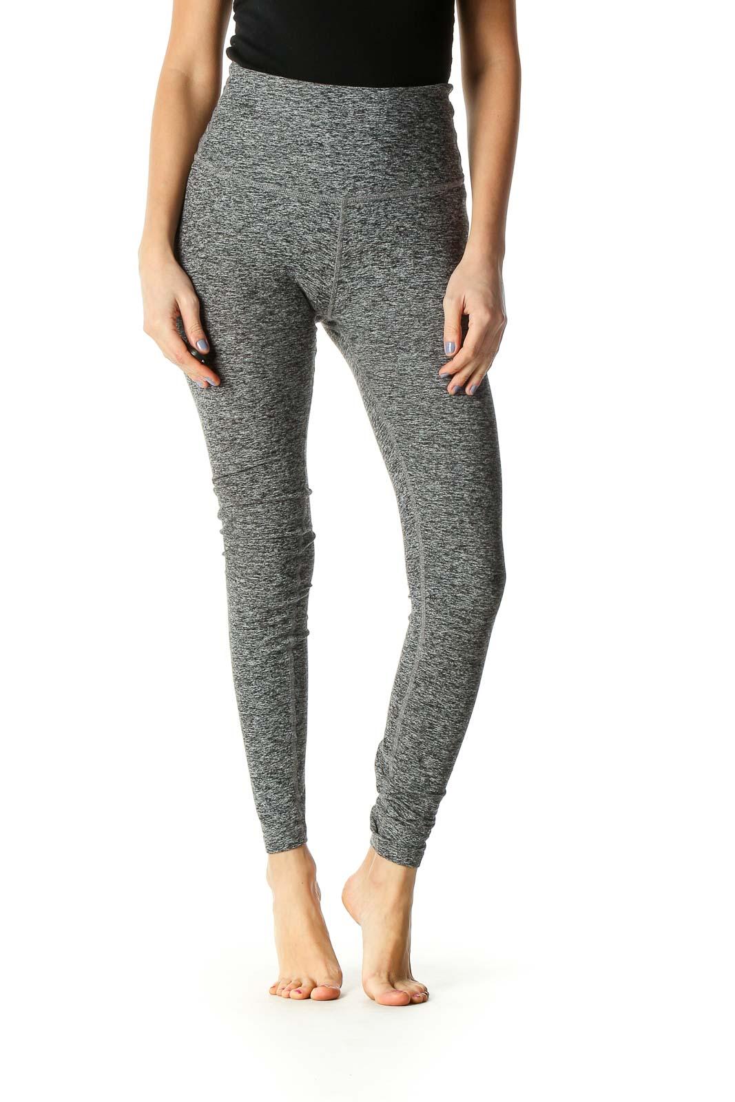Gray Animal Print Casual Leggings Front