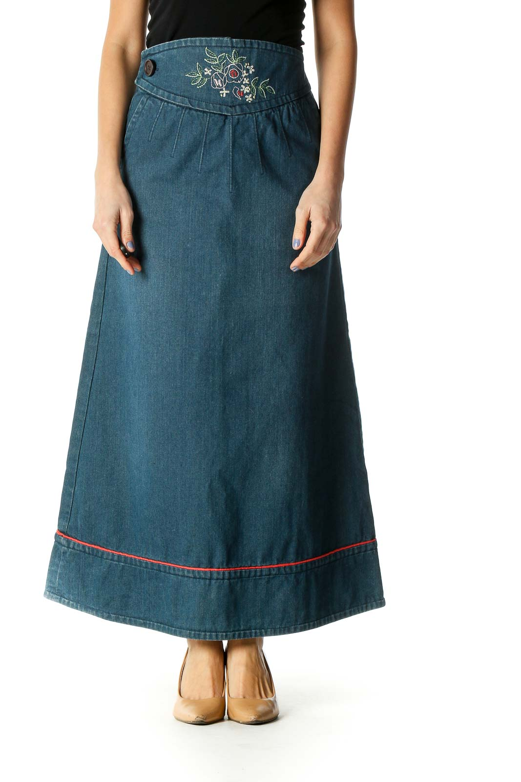 Blue Colorblock Casual A-Line Skirt Front