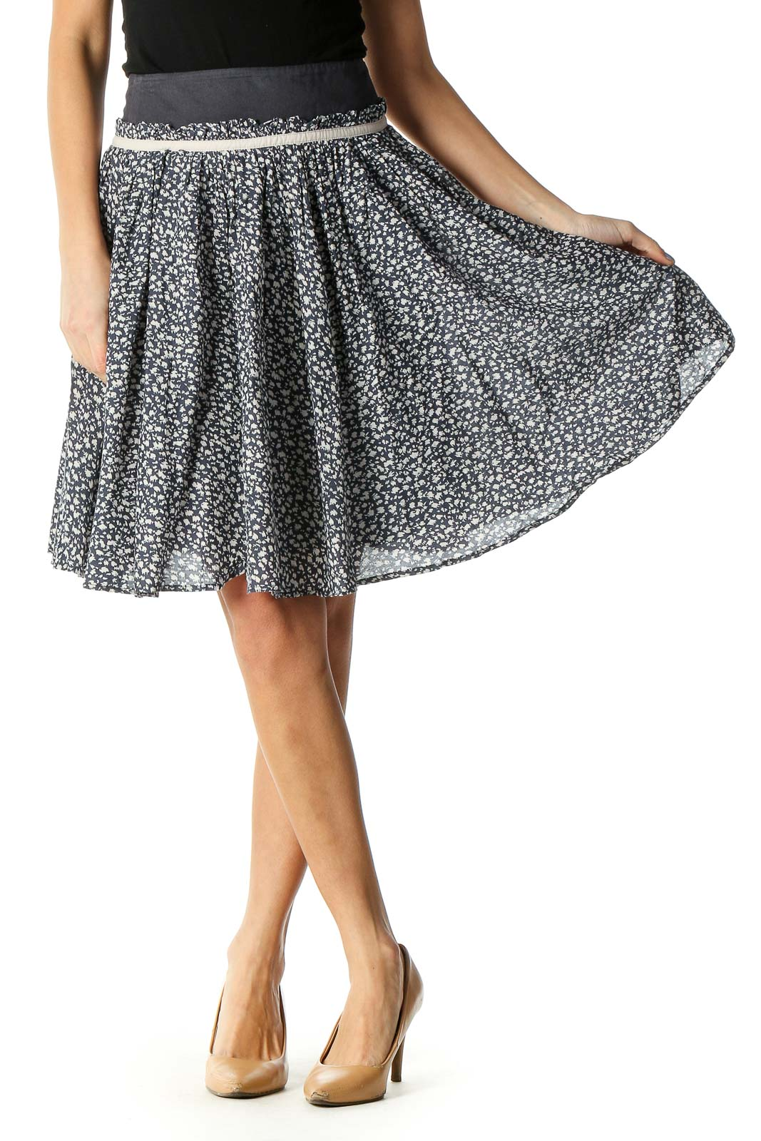 Black Animal Print Retro Flared Skirt Front