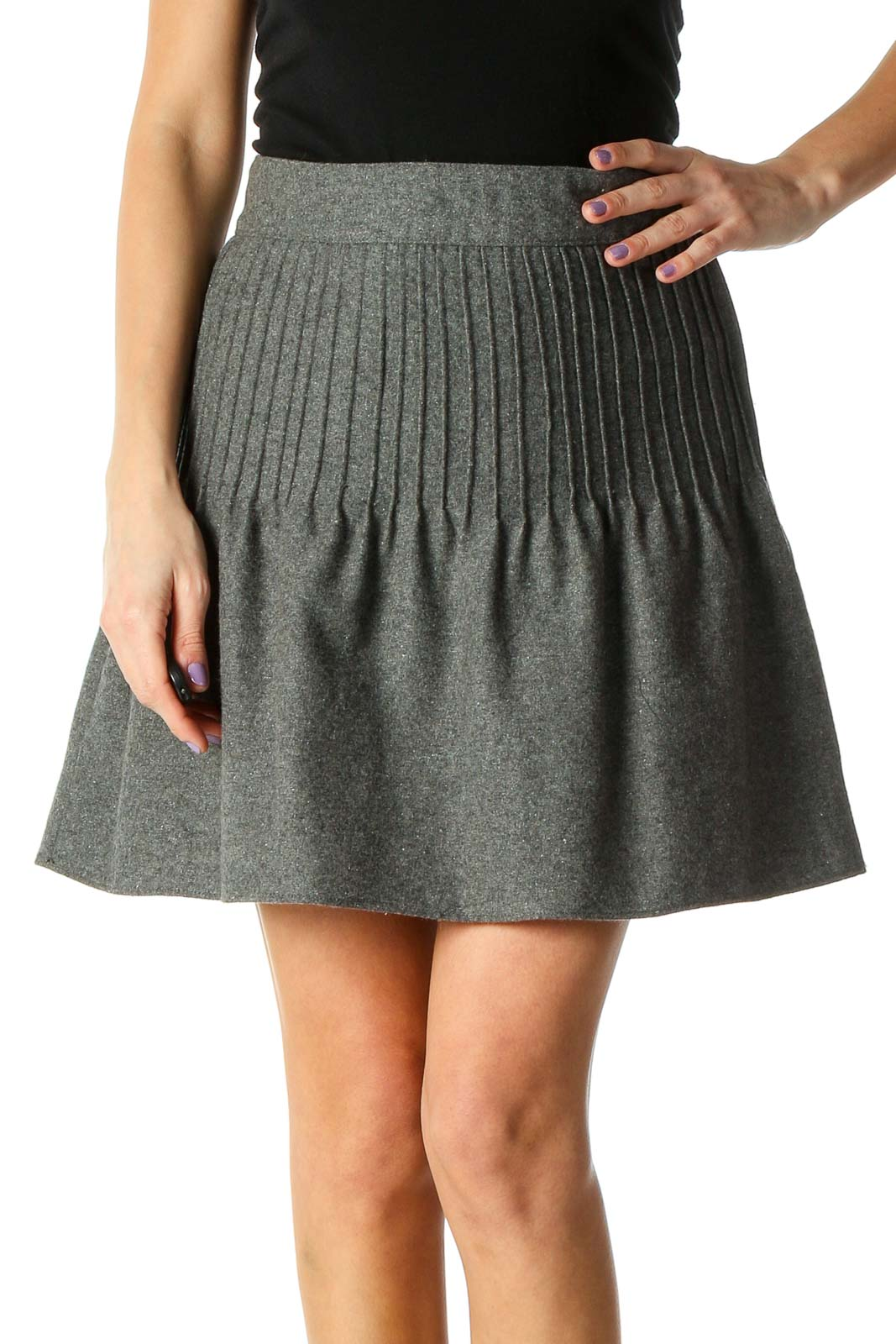 Gray Solid Chic Flared Skirt Front