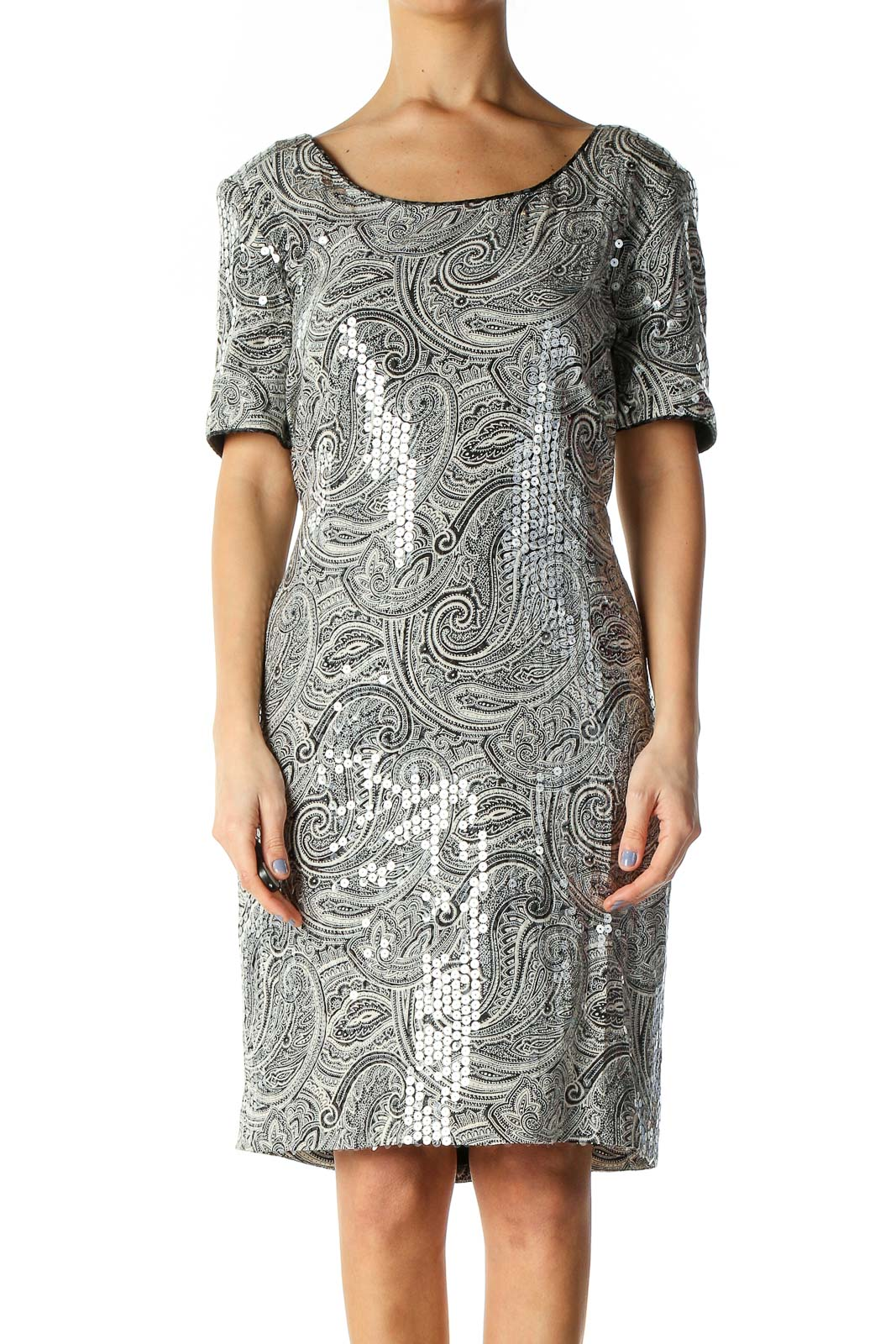 Gray Holiday A-Line Dress Front