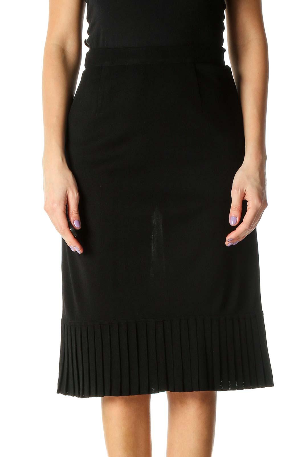 Black Solid Retro Pencil Skirt Front