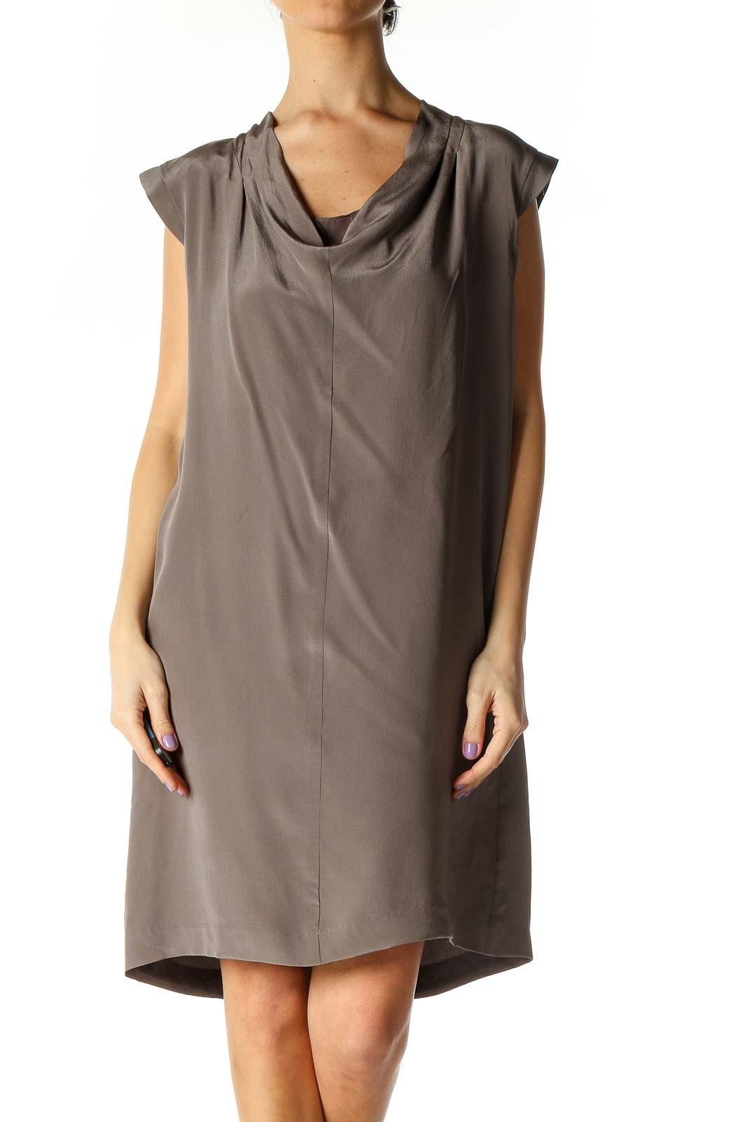 Brown Solid Casual Dress Front