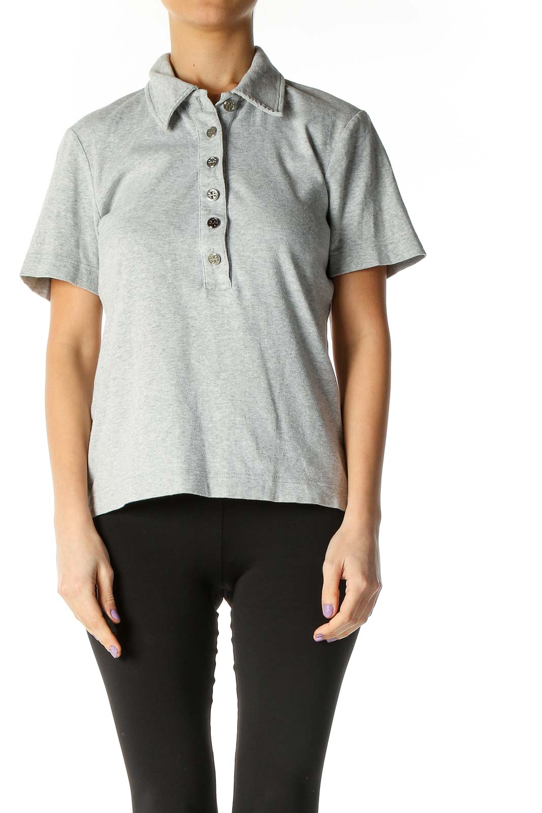 Gray Solid Casual Polo Shirt Front