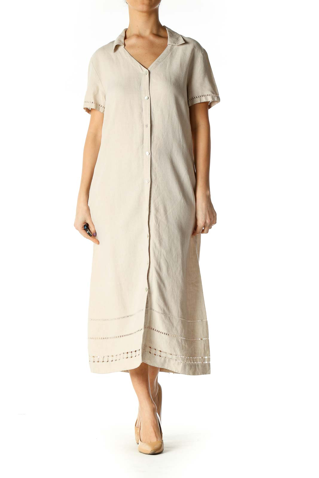 Beige Solid Casual A-Line Dress Front