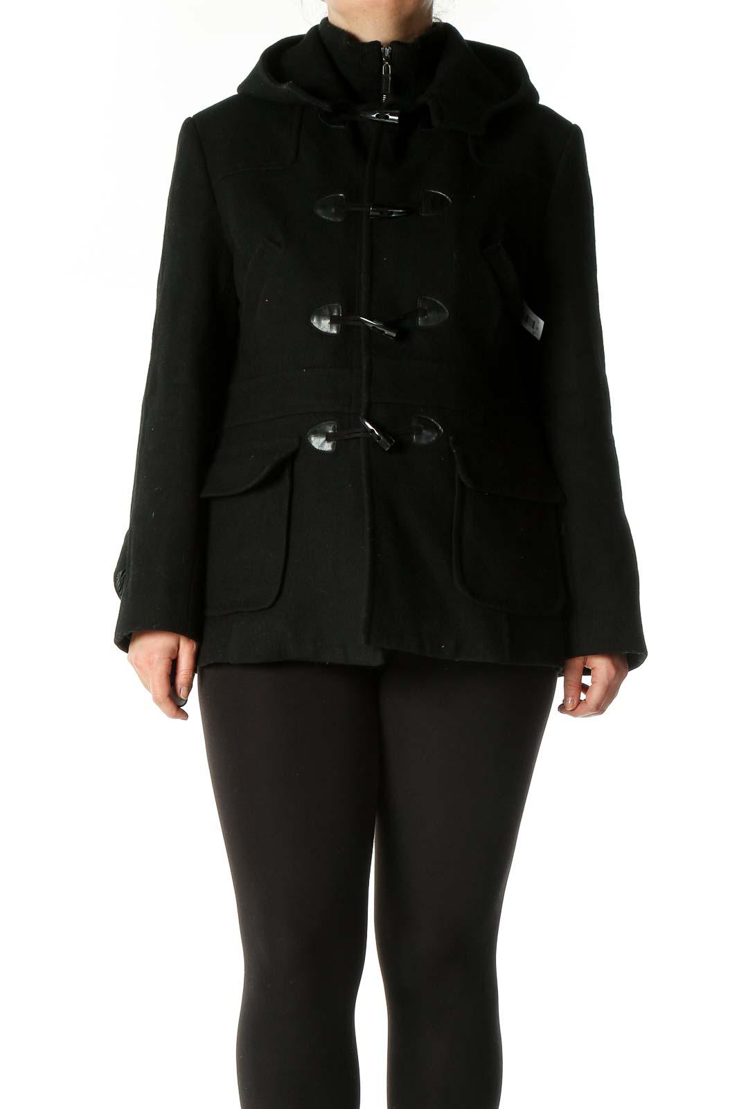 Black Duffel Coat Front