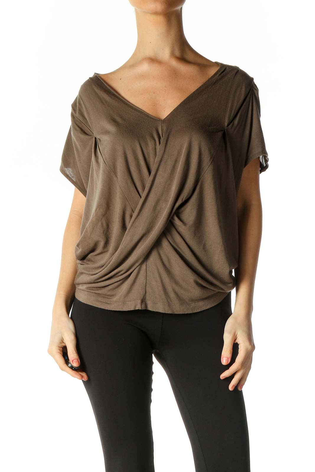 Brown Solid Casual Blouse Front