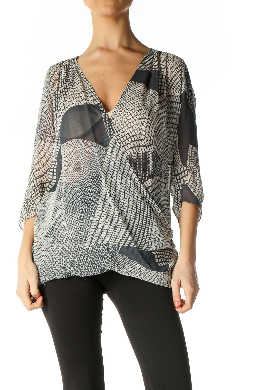 Gray Casual Blouse Front