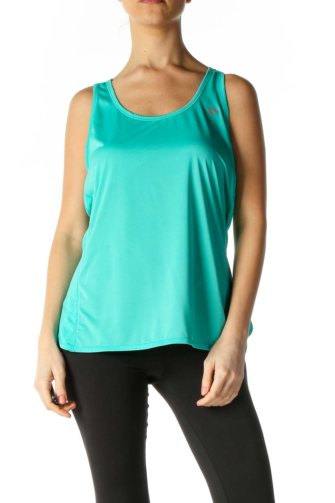 Blue Solid Casual Tank Top Front