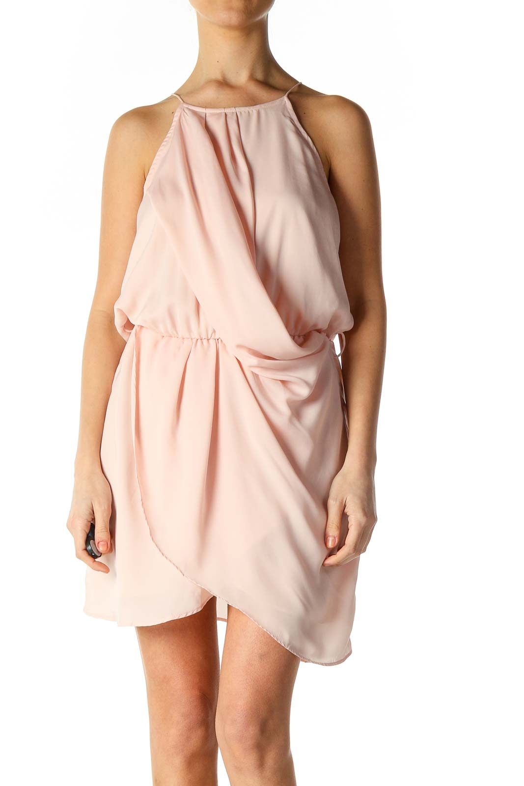 Pink Solid Casual A-Line Dress Front